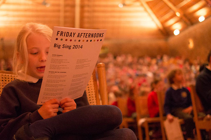 Girl singing at Friday Afternoons event at Snape Maltings Concert Hall